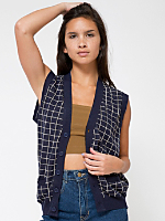 Unisex Knit Long Grid Vest