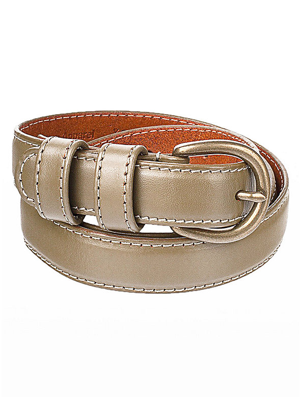 Skinny Feathered Edge Leather Belt