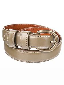 Skinny Feathered Edge Leather Belt