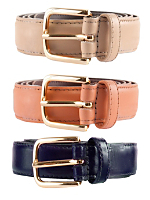 Unisex Basic Leather Belt(3-Pack)