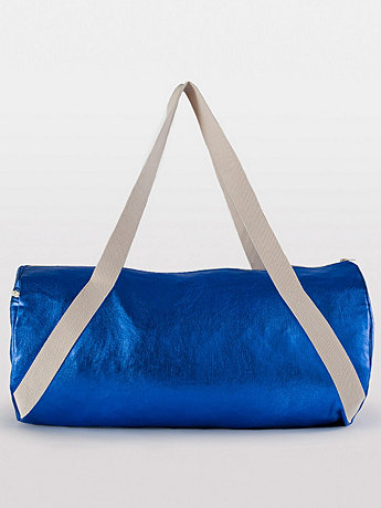 Shiny Denim Diagonal Strap Gym Bag