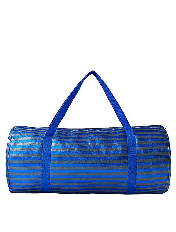 Stripe Shiny Denim Duffle Bag