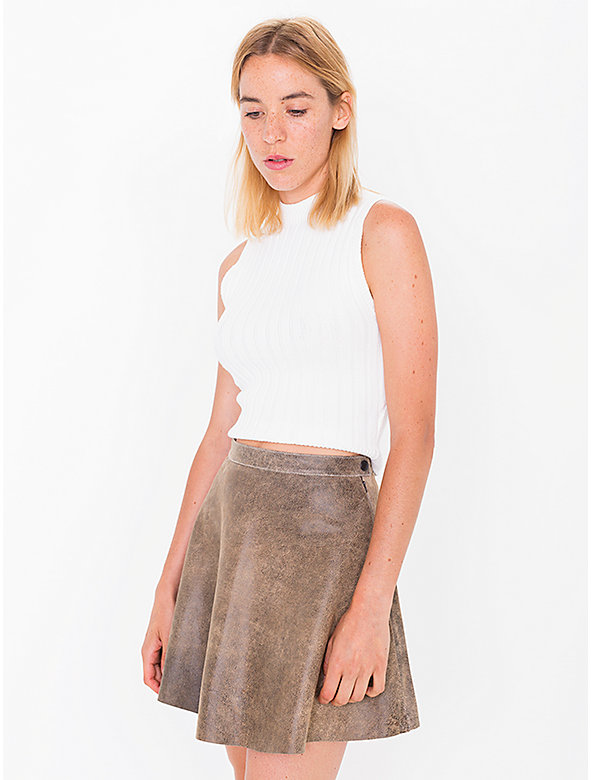 Distressed Lambskin Leather Circle Skirt