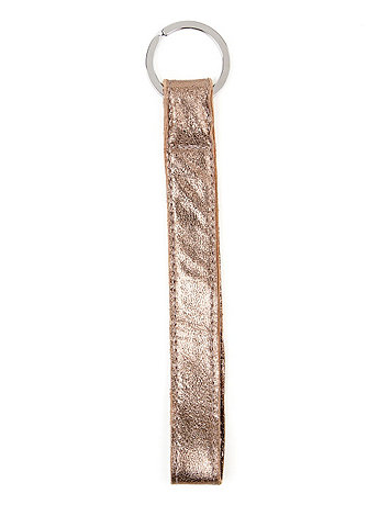 Metallic Leather Strap Keychain