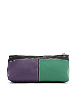 Leather Color Block Make-Up Pouch