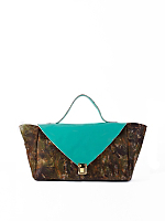 Aqua Patent Camouflage Leather Envelope Case