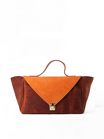 Burnt Orange & Brown Leather Envelope Case