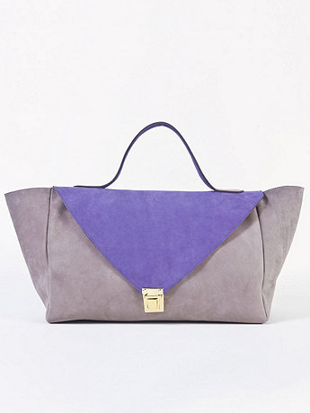 Grey & Purple Suede Leather Envelope Case