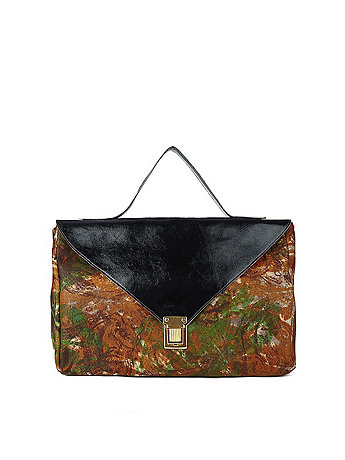 Black Patent Camouflage Leather Envelope Case