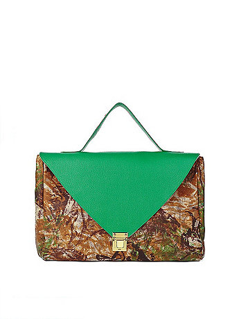 Kelly Green Camouflage Leather Envelope Case