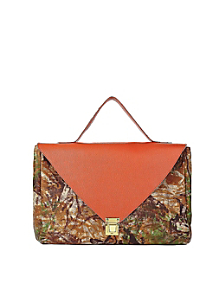 Orange Camouflage Leather Envelope Case