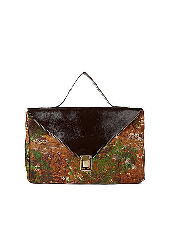 Brown Patent Camouflage Leather Envelope Case