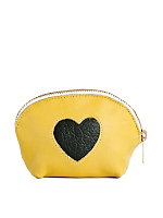 Leather Heart Make-Up Pouch