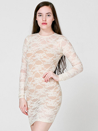 Stretch Floral Lace Long Sleeve Mini Dress