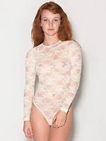 Stretch Floral Lace Long Sleeve Thong Bodysuit