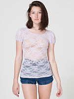 Nylon Spandex Stretch Lace Cap Sleeve Tee