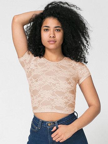 Stretch Floral Lace Crop Top