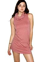 Mélange Jersey Sleeveless Funnel Neck Shift Dress