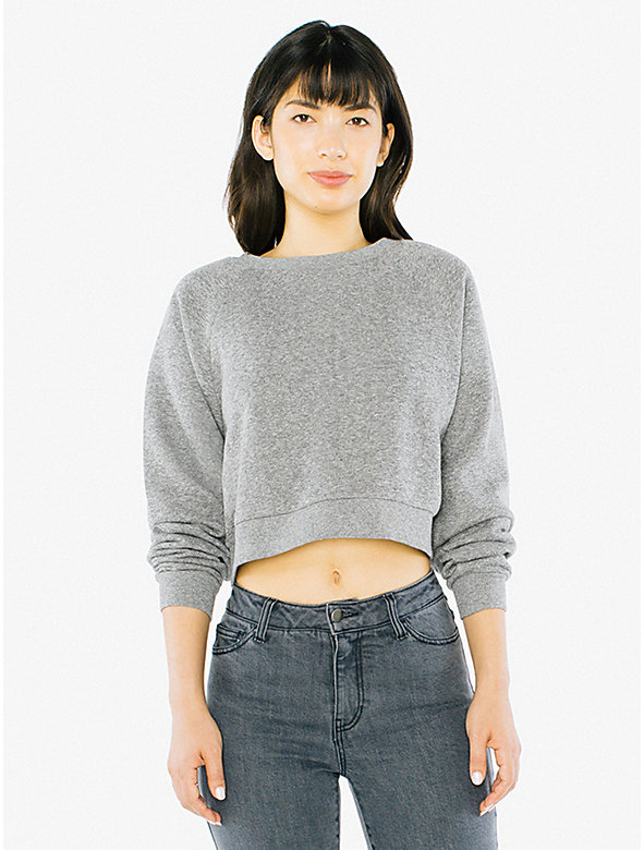 Peppered Fleece Cropped Pullover