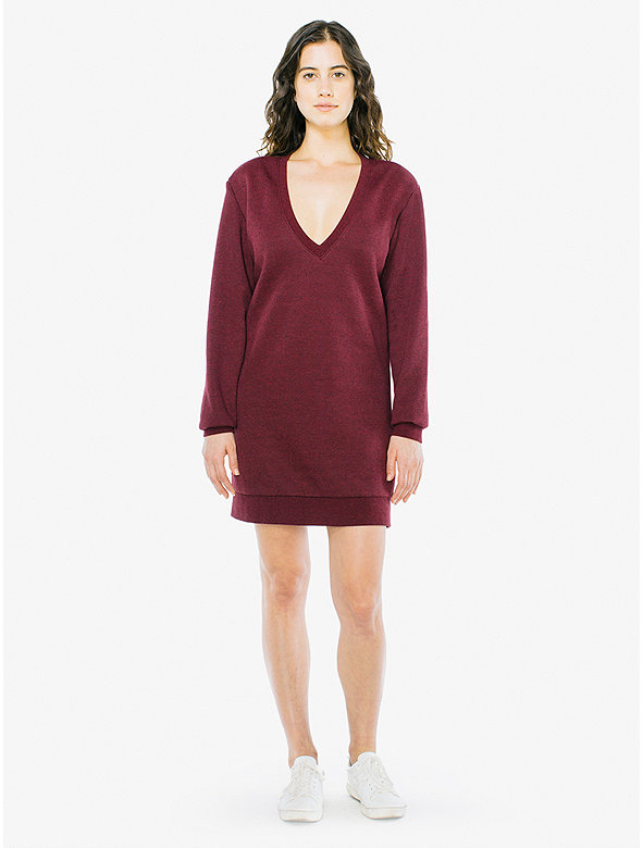 Peppered Fleece V dress