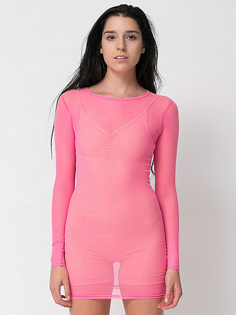 Nylon Spandex Micro-Mesh Long Sleeve Mini Dress