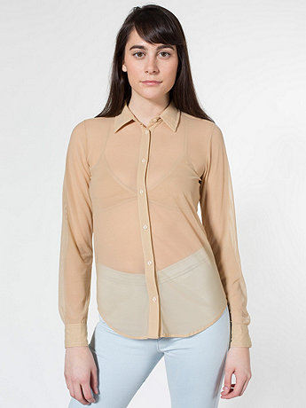 Nylon Spandex Micro-Mesh Long Sleeve Button-Up