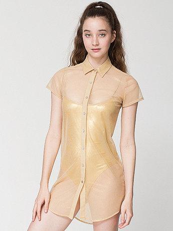Shiny Mesh Button-Up Dress