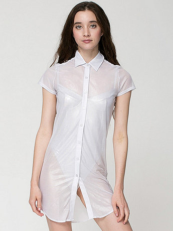 Shiny Mesh Button-Up Dress