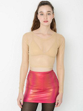 Shiny Mesh Long Sleeve Crop Top