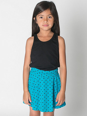Kids Polka Dot Cotton Spandex Jersey Wide Waistband Skirt
