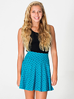 Youth Polka Dot Cotton Spandex Jersey Wide Waistband Skirt