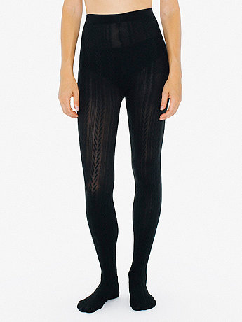 Opaque Cable-Knit Pantyhose