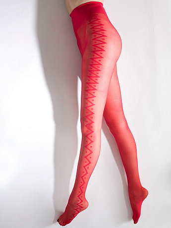 Sheer Luxe Zig-Zag Shapes Pantyhose