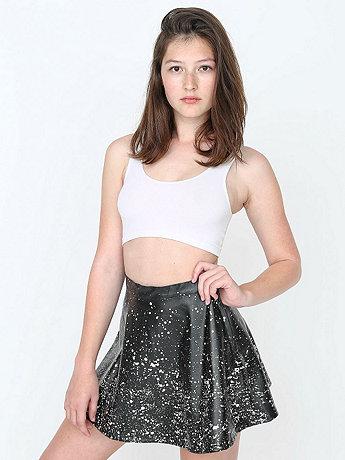 Paint Splatter Vegan Leather Circle Skirt