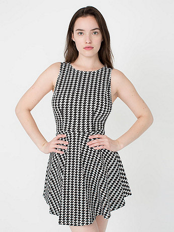 Houndstooth Ponte Sleeveless Skater Dress