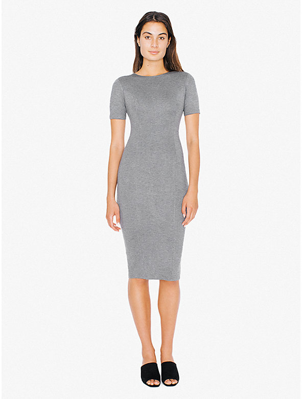Ponte Short Sleeve Pencil Midi Dress