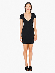 Ponte V-Neck Mini Dress