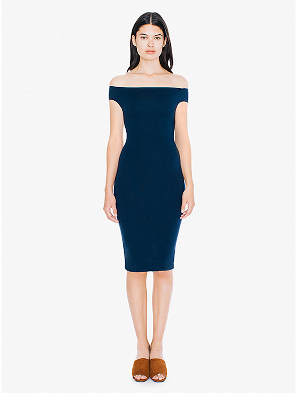 Ponte Off-Shoulder Crossback Pencil Midi Dress