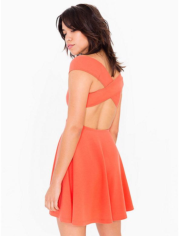 Ponte Off-Shoulder Crossback Skater Dress