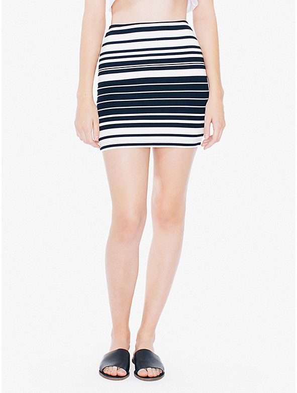 Striped Ponte Mini Skirt