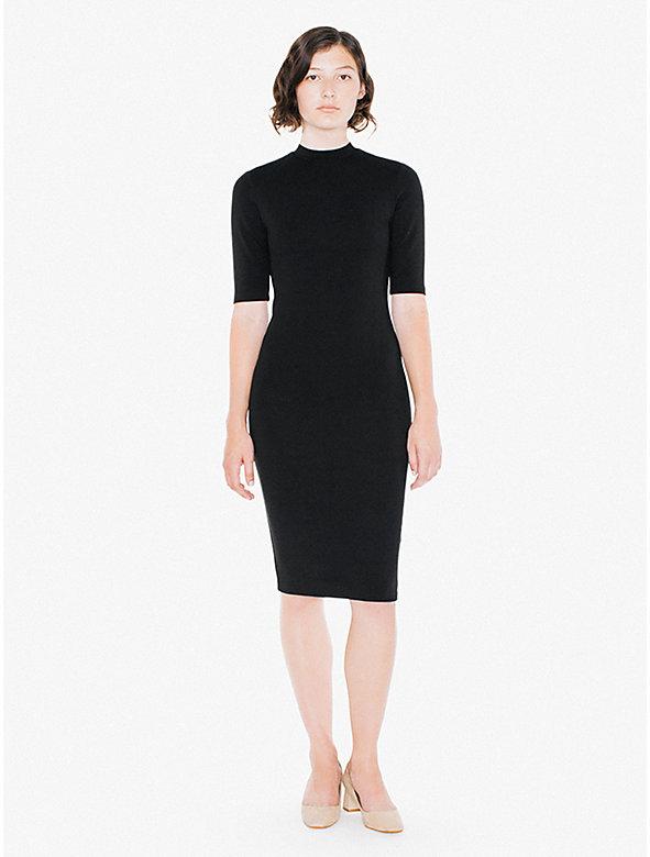 Ponte Mock Neck Short Sleeve Midi Dress