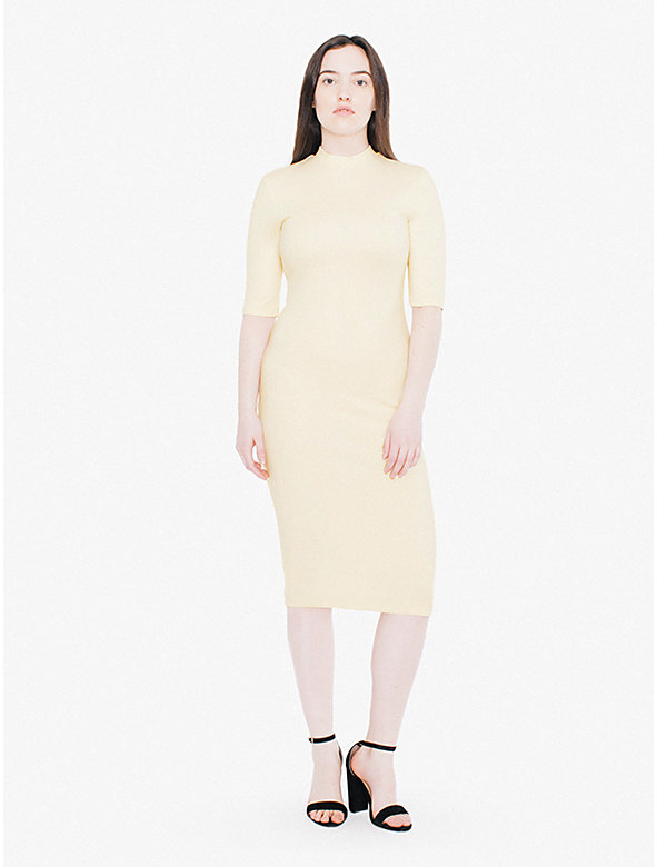 Ponte Mock Neck Short Sleeve Midi Dress