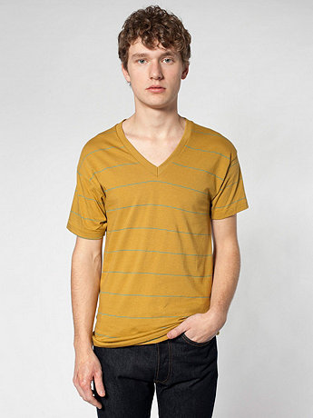 Pinstripe Jersey Short Sleeve V-Neck