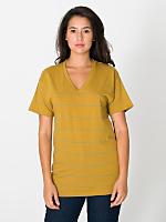 Unisex Pinstripe Jersey Short Sleeve V-Neck