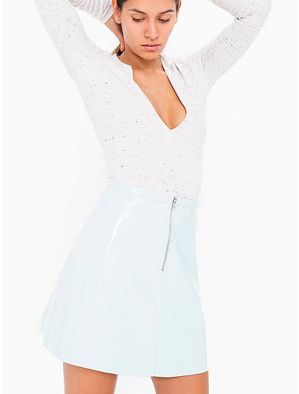 Zip Front Vinyl A-Line Mini Skirt