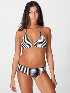 Polyester Spandex Shiny Stripe Shirred Back Panty