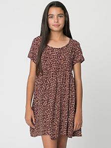 Youth Printed Rayon Babydoll Dress