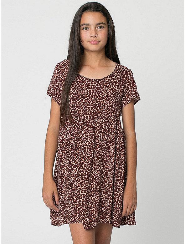 Youth Printed Rayon Babydoll Dress