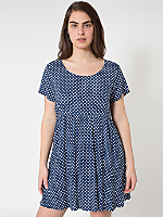 Polka Dot Printed Rayon Babydoll Dress
