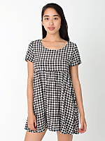 Gingham Printed Rayon Babydoll Dress